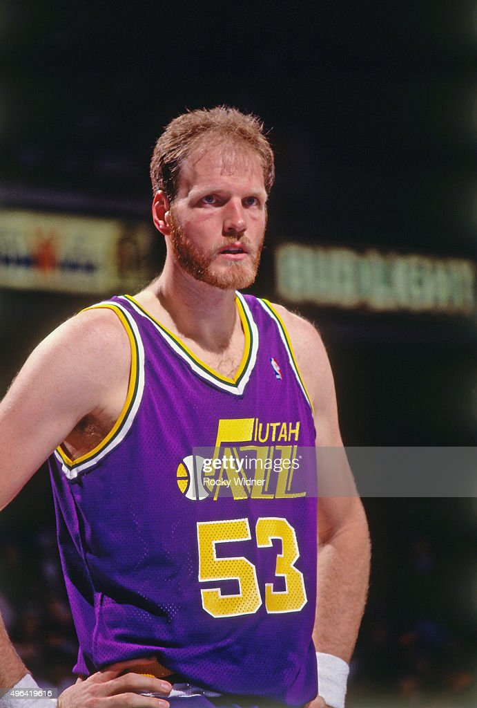 Mark Eaton of the Utah Jazz looks on against the Sacramento Kings circa 1992 at Arco Arena in Sacramento California NOTE TO USER User expressly...