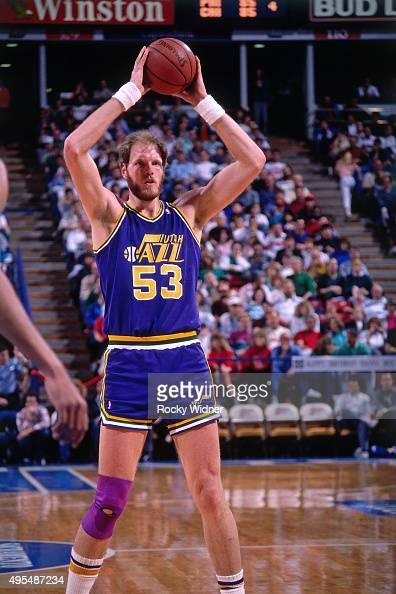 Mark Eaton of the Utah Jazz passes the ball against the Sacramento Kings circa 1990 at Arco Arena in Sacramento California NOTE TO USER User...
