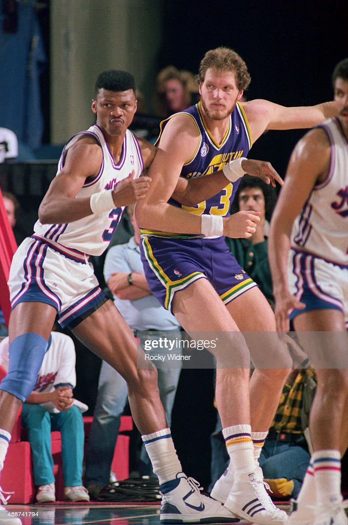 Mark Eaton of the Utah Jazz posts up against the Sacramento Kings on February 29 1988 at Arco Arena in Sacramento California NOTE TO USER User...