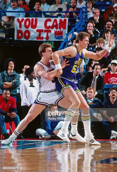 Mark Eaton of the Utah Jazz posts up against the Sacramento Kings circa 1987 at Arco Arena in Sacramento California NOTE TO USER User expressly...