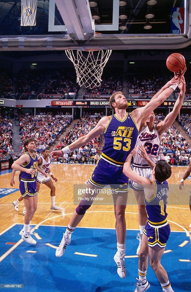 Mark Eaton of the Utah Jazz rebounds against the Sacramento Kings circa 1990 at Arco Arena in Sacramento California NOTE TO USER User expressly...