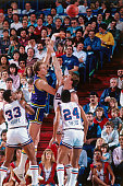 Mark Eaton of the Utah Jazz shoots against the Sacramento Kings circa 1987 at Arco Arena in Sacramento California NOTE TO USER User expressly...