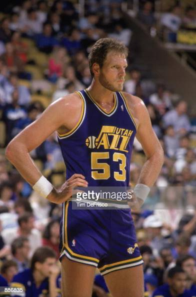 Mark Eaton of the Utah Jazz stands on the court during an NBA game against the Los Angeles Lakers at the Great Western Forum in Los Angeles...