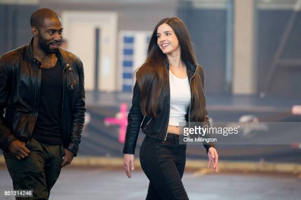 Mark Ebulue and Elysia Wren who play DSS Agent Dawson and Sophia Diaz during the 'Fast Furious Live' media launch day event on September 21 2017 at...