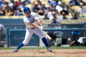 Mark Ellis of the Los Angeles Dodgers bats during the game against the Chicago Cubs on Wednesday August 28 2013 at Dodger Stadium in Los Angeles...