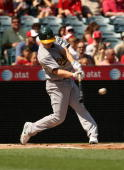 Mark Ellis of the Oakland Athletics bats against the Los Angeles Angels of Anaheim on September 27 2009 at Angel Stadium in Anaheim California The...