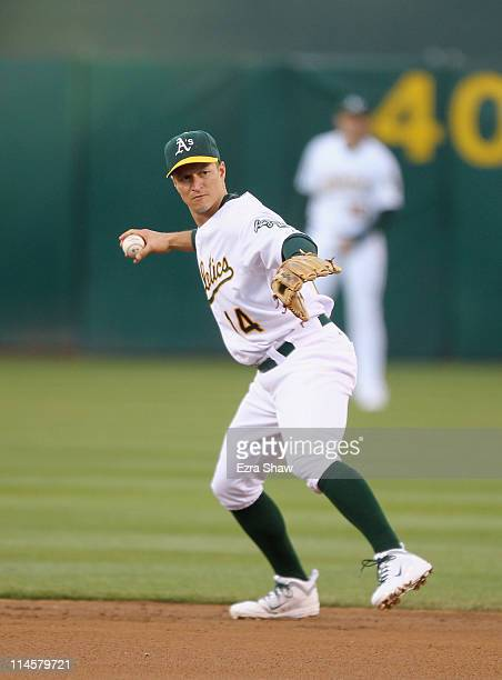 Mark Ellis of the Oakland Athletics in action against the Minnesota Twins at OaklandAlameda County Coliseum on May 18 2011 in Oakland California