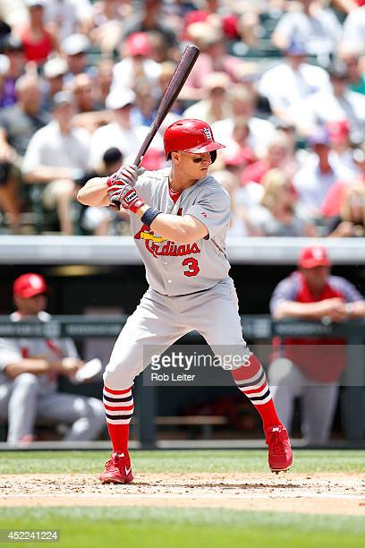 Mark Ellis of the St Louis Cardinals bats against the Colorado Rockies at Coors Field on June 25 2014 in Denver Colorado The Cardinals defeated the...