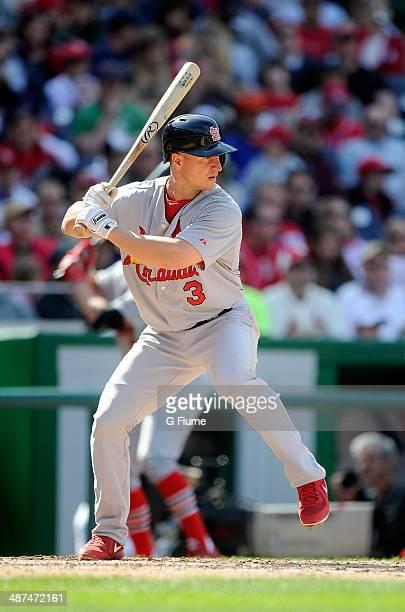 Mark Ellis of the St Louis Cardinals bats against the Washington Nationals at Nationals Park on April 20 2014 in Washington DC