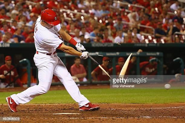 Mark Ellis of the St Louis Cardinals breaks his bat wile batting against the Arizona Diamondbacks in the ninth inning at Busch Stadium on May 21 2014...