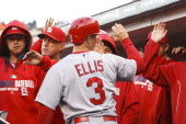 Mark Ellis of the St Louis Cardinals is congratulated by teammates in the dugout after scoring a run against the San Francisco Giants during the...