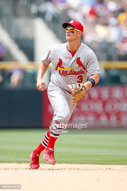 Mark Ellis of the St Louis Cardinals plays second base during the game against the Colorado Rockies at Coors Field on June 25 2014 in Denver Colorado...