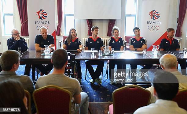 Mark England Team GBs Chef de Mission Dominic Mahony Modern Pentathlon Team Leader Kate French James Cooke Joe Choong Samantha Murray and Jan Bartu...
