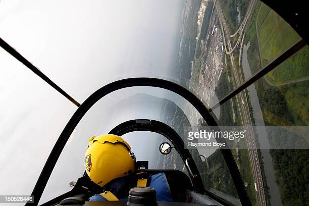 Mark 'Enigma' Miller of The Lima Lima Flight Team practices stunts over Gary Indiana in preparation for Chicago's 54th Annual Air Water Show in Gary...