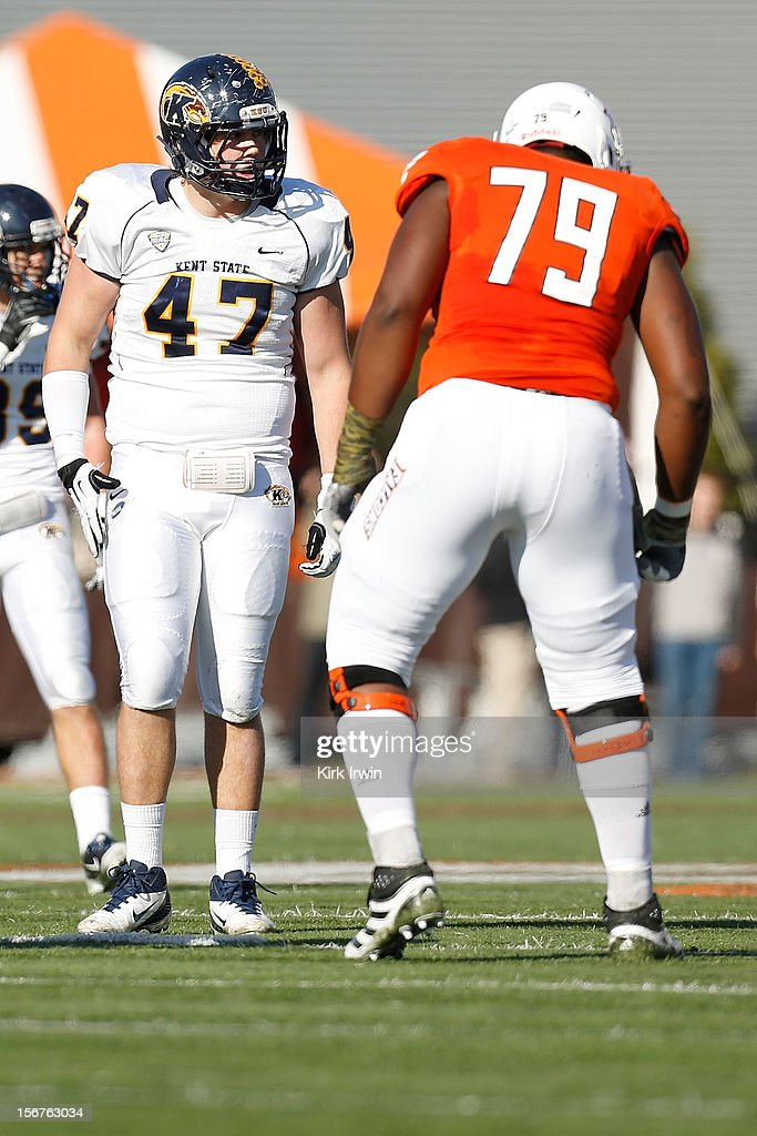 Mark Fackler #47 of the Kent State Golden Flashes lines up against Fahn Cooper #79 of the Bowling Green Falcons on November 17, 2012 at Doyt Perry Stadium in Bowling Green, Ohio.