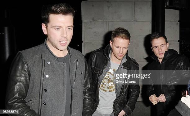 Mark Feehily Nicky Byrne and Shane Filan leaves The Wolseley Restaurant on February 10 2010 in London England