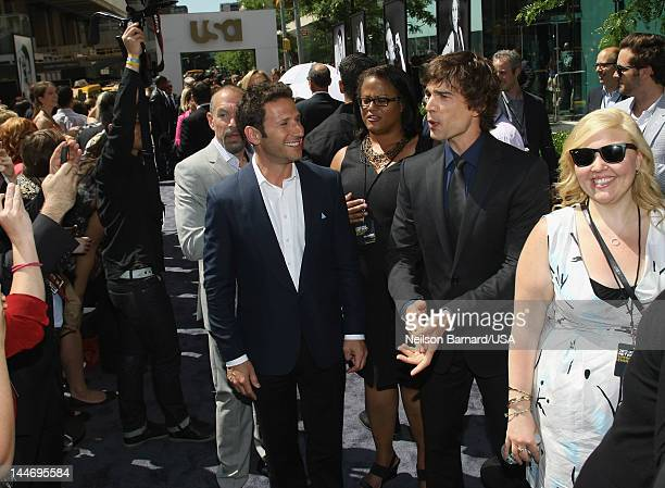 Mark Feuerstein of Royal Pains and Christopher Gorhan of Covert Affairs attend USA Network Upfront 2012 arrivals at Alice Tully Hall at Lincoln...