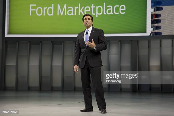 Mark Fields chief executive officer at Ford Motor Co speaks during a presentation at the 2016 North American International Auto Show in Detroit...