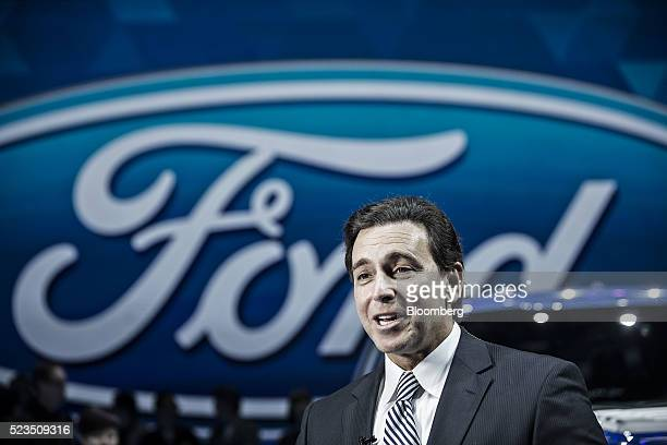 Mark Fields chief executive officer at Ford Motor Co speaks during a Ford Media Night event ahead of the Beijing International Automotive Exhibition...