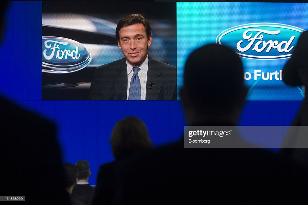 Mark Fields, chief operating officer of Ford Motor Co., speaks live via satellite during the Washington Auto Show in Washington, D.C., U.S., on Wednesday, Jan. 22, 2014. After laboring for five years to develop its aluminum F-150, Ford Motor Co. now confronts a new challenge: preventing higher insurance rates and a dearth of mechanics equipped to repair its body from deterring buyers. Photographer: Andrew Harrer/Bloomberg via Getty Images