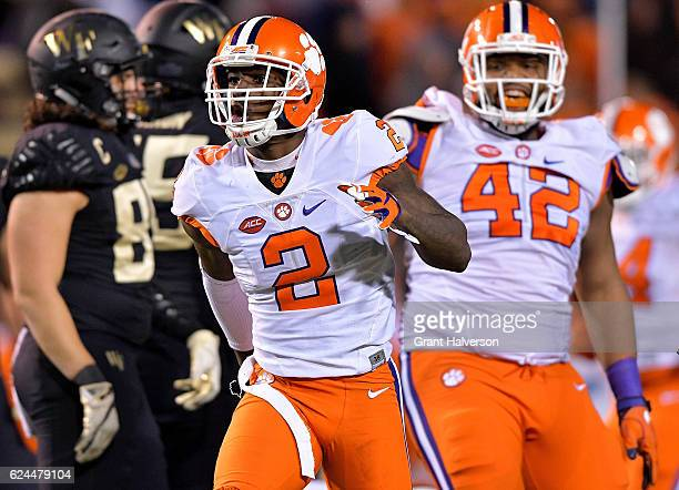 Mark Fields of the Clemson Tigers reacts after sacking quarterback Kyle Kearns of the Wake Forest Demon Deacons during the game at BBT Field on...