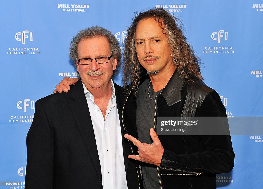 Mark Fishkin and <a gi-track='captionPersonalityLinkClicked' href=/galleries/search?phrase=Kirk+Hammett&family=editorial&specificpeople=204665 ng-click='$event.stopPropagation()'>Kirk Hammett</a> attend the 'Metallica Through The Never' U.S. Public Premiere and Special Advance 36th Annual Mill Valley Film Festival Kick-Off Event at Christopher B. Smith Rafael Film Center on September 17, 2013 in San Rafael, California.