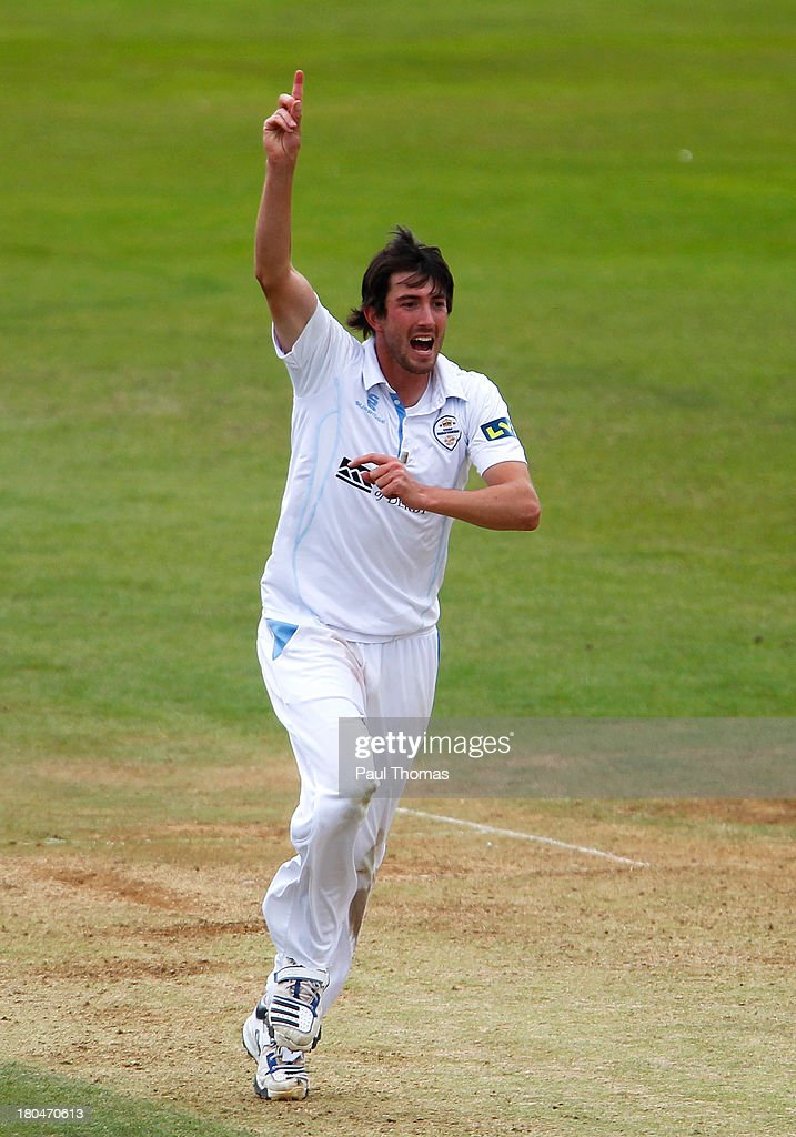 <a gi-track='captionPersonalityLinkClicked' href=/galleries/search?phrase=Mark+Footitt&family=editorial&specificpeople=621635 ng-click='$event.stopPropagation()'>Mark Footitt</a> of Derbyshire celebrates after taking the wicket of Durham's Will Smith (not pictured) during the LV County Championship match between Derbyshire and Durham at The County Ground on September 13, 2013 in Derby, England.