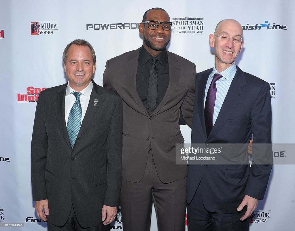 Mark Ford, 2012 Sportsman of the Year <a gi-track='captionPersonalityLinkClicked' href=/galleries/search?phrase=LeBron+James&family=editorial&specificpeople=201474 ng-click='$event.stopPropagation()'>LeBron James</a> and <a gi-track='captionPersonalityLinkClicked' href=/galleries/search?phrase=Adam+Silver&family=editorial&specificpeople=679055 ng-click='$event.stopPropagation()'>Adam Silver</a> attend the 2012 Sports Illustrated Sportsman of the Year award presentation at Espace on December 5, 2012 in New York City.