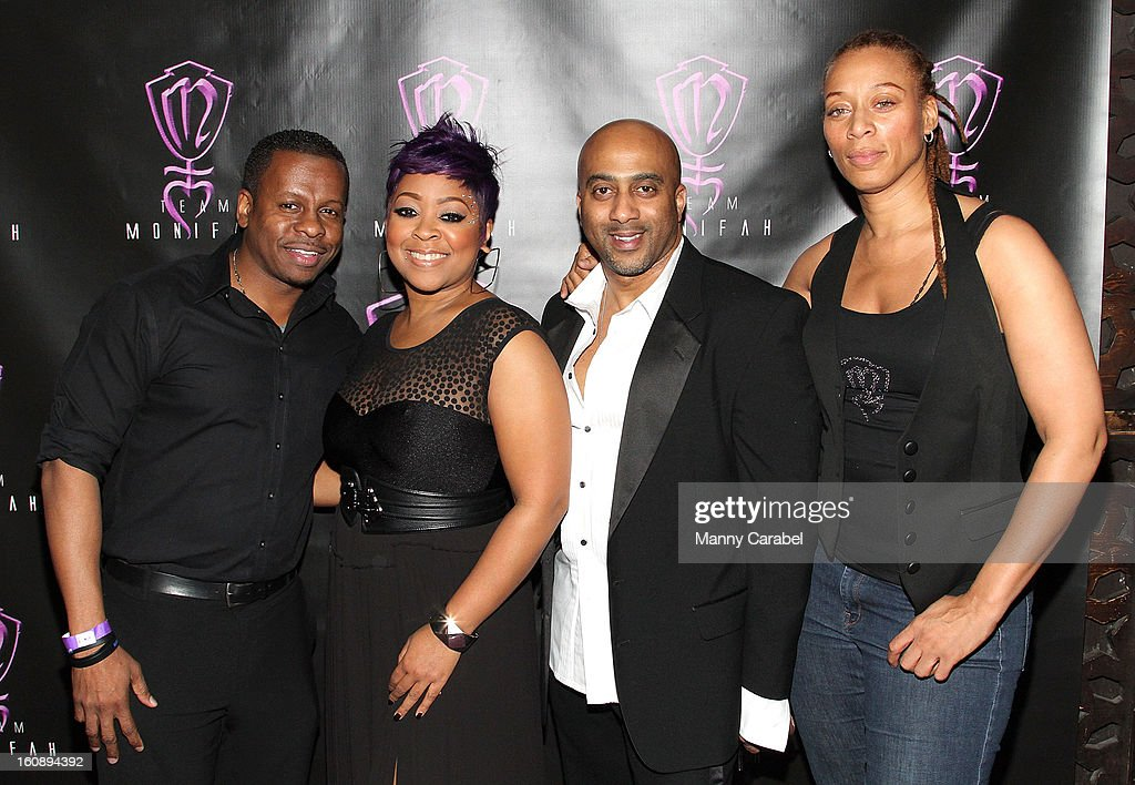 Mark Forrest COO of SMEG, Recording Artist/R&B DIva Monifah Carter, Savoy Walker CEO of SMEG and Terez Mychelle attend Monifah's 'In Her Skin' Showcase at Katra Lounge on February 6, 2013 in New York City.