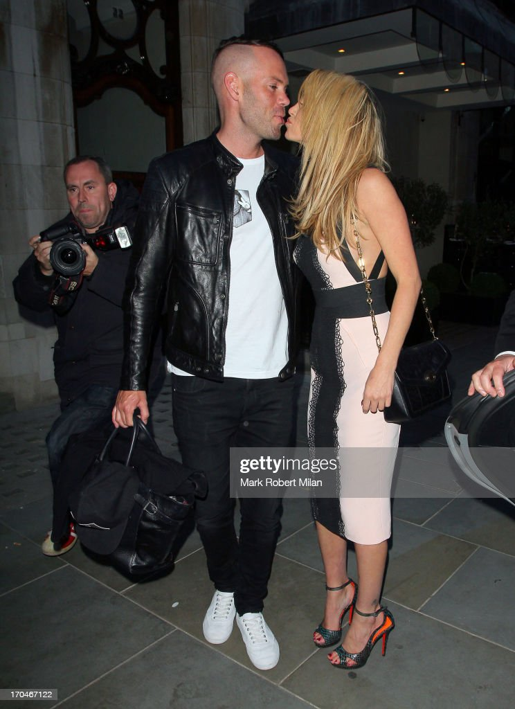 Mark Foster and <a gi-track='captionPersonalityLinkClicked' href=/galleries/search?phrase=Sarah+Harding&family=editorial&specificpeople=202916 ng-click='$event.stopPropagation()'>Sarah Harding</a> leaving Scotts restaurant on June 13, 2013 in London, England.