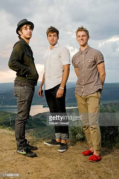 Mark Foster Cubbie Fink and Mark Pontius of Foster the People pose for a portrait backstage at the Sasquatch Music Festival at the Gorge Amphitheater...