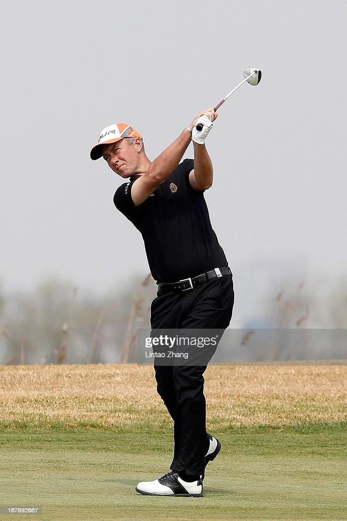 Mark Foster of England plays a shot during the first day of the Volvo China Open at Binhai Lake Golf Course on May 2, 2013 in Tianjin, China.