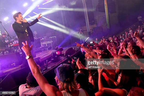 Mark Foster of Foster the People performs at Verizon Wireless Amphitheater on May 31 2014 in Irvine California
