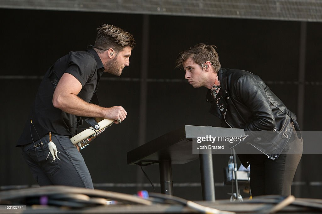 Mark Foster (R) of Foster the People performs during the 2014 Lollapalooza at Grant Park on August 2, 2014 in Chicago, Illinois.