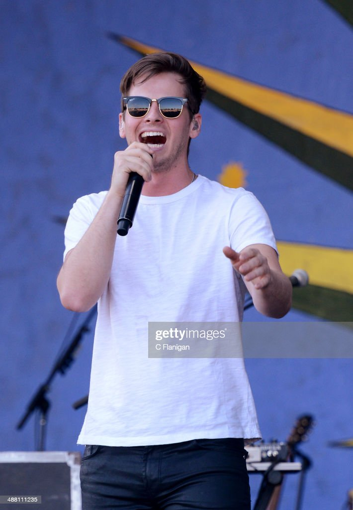 Mark Foster of Foster the People performs during the 2014 New Orleans Jazz Heritage Festival at Fair Grounds Race Course on May 3 2014 in New Orleans...