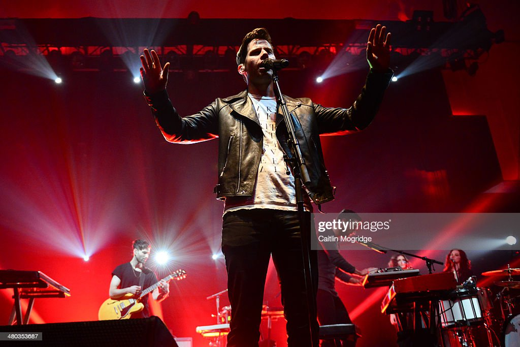 Mark Foster of Foster The People performs on stage at the Troxy on March 24 2014 in London United Kingdom
