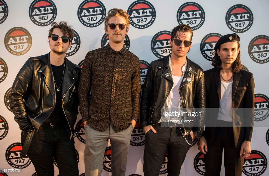 Mark Foster, Sean Cimino, Isom Innis and Mark Pontius of Foster the People pose backstage at Alt 98.7 Summer Camp at Queen Mary Events Park on August 19, 2017 in Long Beach, California.