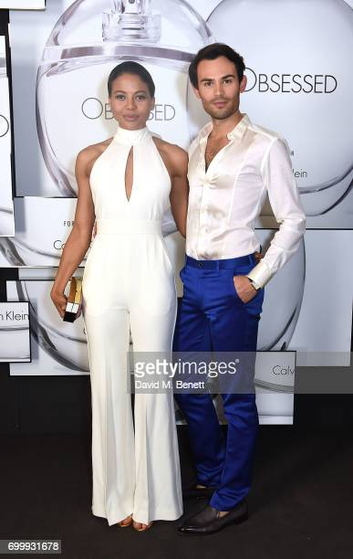 Mark Francis Vandelli and Emma McQuiston attend the Kate Moss Mario Sorrenti launch of the OBSESSED Calvin Klein fragrance launch at Spencer House on...