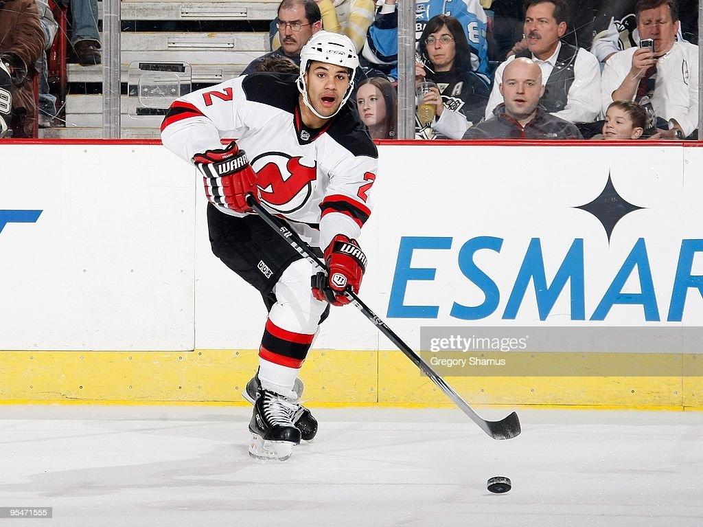 Mark Fraser of the New Jersey Devils makes a pass against the Pittsburgh Penguins on December 21 2009 at Mellon Arena in Pittsburgh Pennsylvania