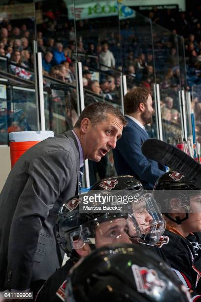 Mark French head coach of the Calgary Hitmen stands on the bench against the Kelowna Rockets on February 1 2017 at Prospera Place in Kelowna British...