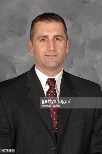Mark French head coach of the Hershey Bears poses for his official headshot for the 20092010 NHL season