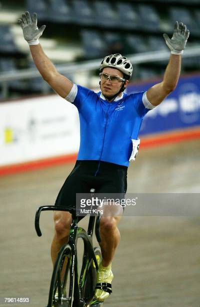 Mark French of Victoria celebrates winning the Men's Sprint Final during day four of the 2008 Australian Track Championships held at Dunc Gray...
