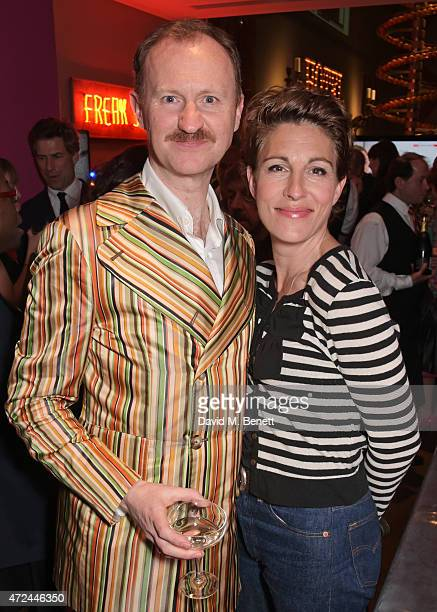 Mark Gatiss and Tamsin Greig celebrate following the live broadcast of The Donmar Warehouse's production of 'The Vote' at the Ham Yard Hotel...