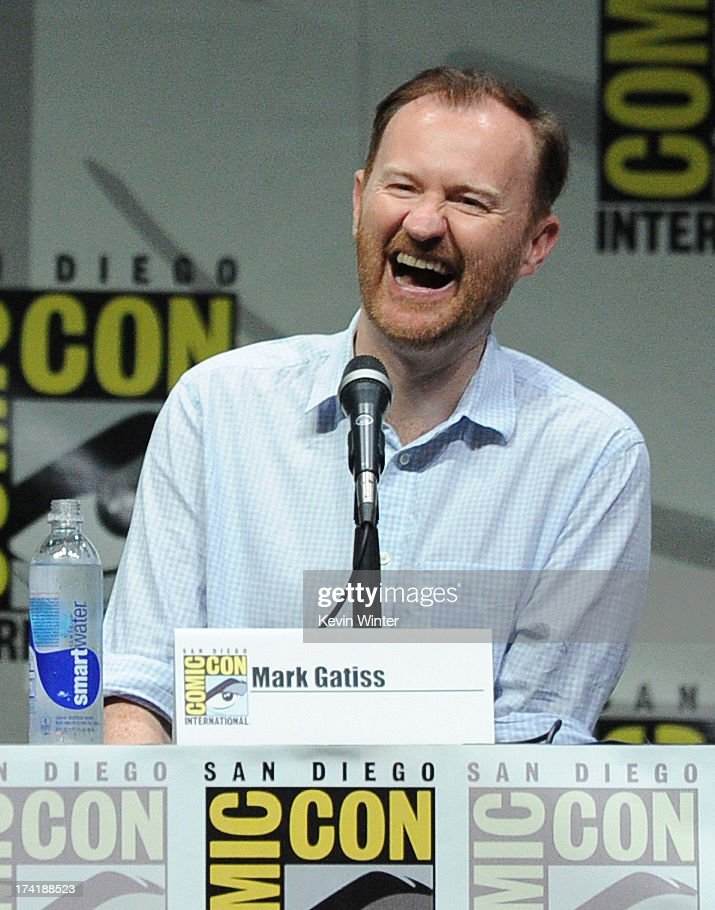 Mark Gatiss speaks onstage at BBC America's 'Doctor Who' 50th Anniversary panel during Comic-Con International 2013 at San Diego Convention Center on July 21, 2013 in San Diego, California.