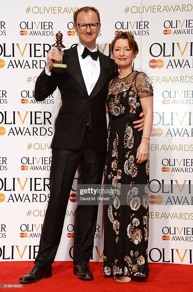 Mark Gatiss winner of the Best Actor In A Supporting Role award for 'Three Days In The Country' and presenter Lesley Manville pose in the Winners...