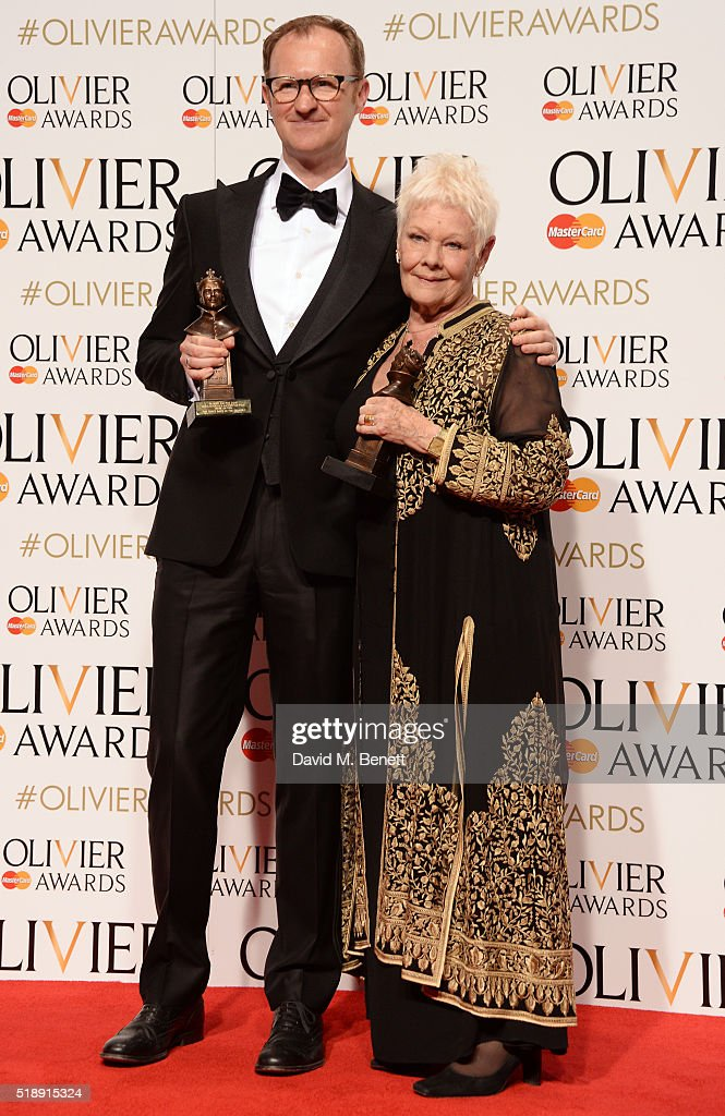 Mark Gatiss winner of the Best Actor In A Supporting Role award for 'Three Days In The Country' and Dame Judi Dench winner of the Best Actress In A...