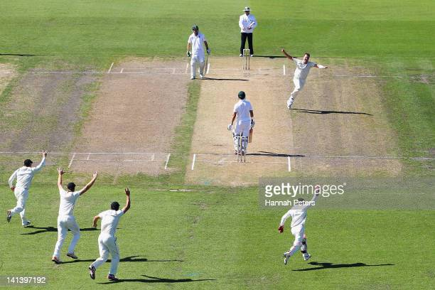 Mark Gillespie of New Zealand celebrates the wicket of Jacques Rudolph of South Africa during day two of the Second Test match between New Zealand...