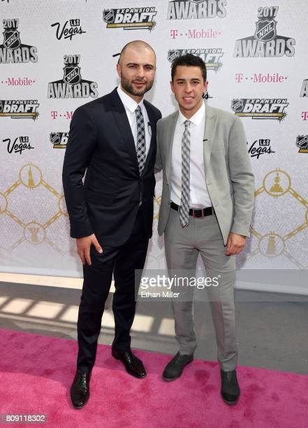 Mark Giordano and Johnny Gaudreau of the Calgary Flames attend the 2017 NHL Awards at TMobile Arena on June 21 2017 in Las Vegas Nevada