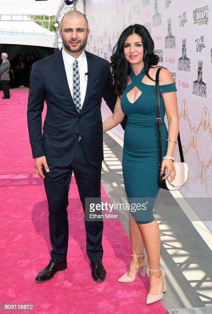 Mark Giordano of the Calgary Flames and a guest attend the 2017 NHL Awards at TMobile Arena on June 21 2017 in Las Vegas Nevada