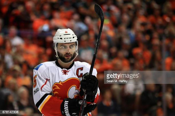 Mark Giordano of the Calgary Flames during the third period of Game Two of the Western Conference First Round during the 2017 NHL Stanley Cup...